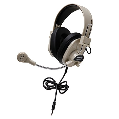 Califone 3066AVT Deluxe Multimedia Stereo Headset with To Go Plug, Rugged ABS Plastic Headstrap with