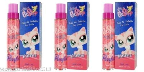Lot of 3 Girls Littlest Pet Shop Kittens Eau de Toilette Spray 50ml/ea Not a Toy