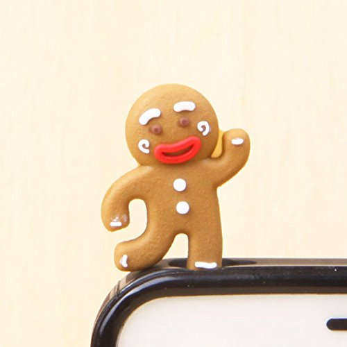 ZOEAST Silicone Owl OvenBreak Penguin Cat Duck Dust Plug 3.5mm Phone Headphone Jack Earphone Cap Ear Cap Dust Plug Charm iPhone 4 4S 5 5S SE 6 6S Plus HTC Samsung IPad IPod etc. (Gingerbread Man)