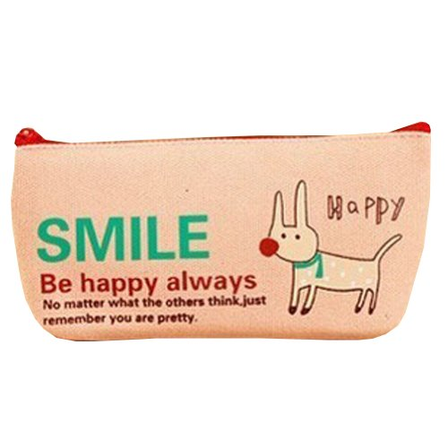 Smile Dog Canvas Cosmetic Pencil Pouch Purse Stationery Bag
