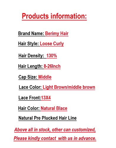Short Full Lace Human Hair Wigs With Baby Hair For Blace Women Pre Plucked Hairline Brazilian Virgin Lace Front Human Hair Wigs 8''-16'' Loose Curly Hair Natural Color (Lace Front Wig 8) by Berimy (Image #9)