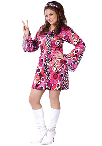 Fun World Costumes Women's Womens Feelin' Groovy Pink, Plus Size