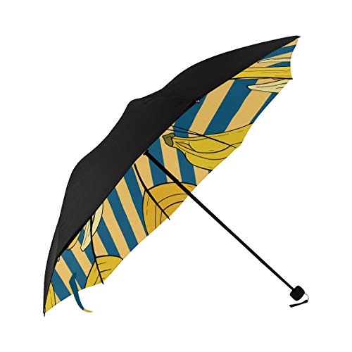 (Abstract Tropical Hawaiian Fruit Doodle Style Striped Dots Color Compact Travel Umbrella Sun Parasol Anti Uv Foldable Umbrellas(underside Printing) As Best Present For Women Sun Uv Protection)