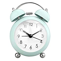 """PILIFE 3"""" Small Twin Bell Alarm Clock,Cute with Backlight and Loud Alarm to Wake You Up,Silent Working Perfect for Bedroom and Work(Green)"""
