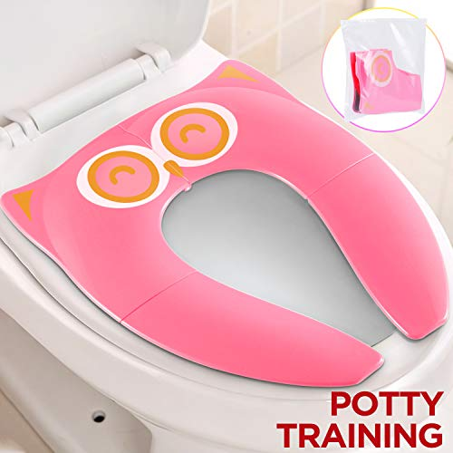 Photo Gimars Non Slip No Falling Travel Folding Portable Potty Training Seat Fits Most Toilets, 6 Large Non-slip Silicone Pad, Home Reusable with Carry Bag for Toddlers Kids Boy Girl, Pink