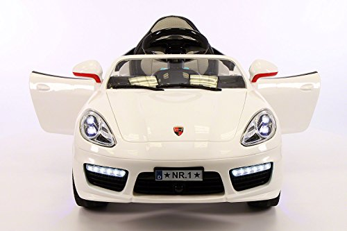 2018 PORSHE BOKSTER STYLE 12V ELECTRIC KIDS RIDE-ON CAR TOY WITH R/C PARENTAL REMOTE, LED WHEELS, REMOVABLE BABY TRAY TABLE, 5 POINT SAFETY HARNESS (1 YEAR WARRANTY) | WHITE
