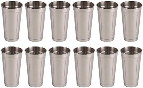 Set of 12 30 oz Stainless Steel Malt Cup by Tezzorio, Professional Blender Cup, Milkshake Cup, Cocktail Mixing Cup, Commercial Grade Malt Cups