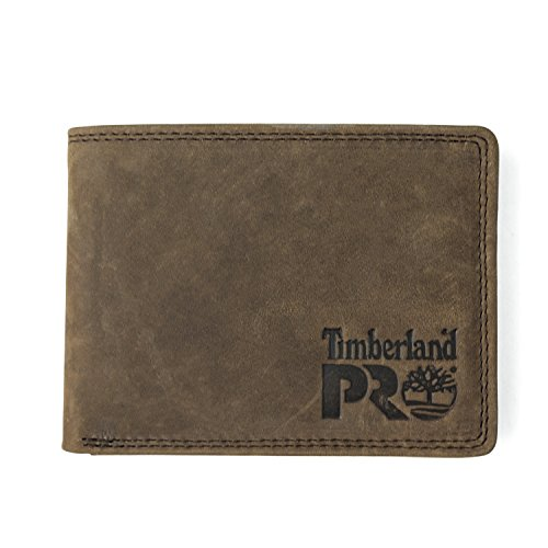 Timberland PRO Men's Leather RFID Wallet with Removable Flip Pocket Card Carrier, dark brown/Pullman, One Size
