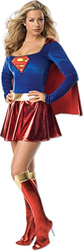 [Secret Wishes Women's Adult Supergirl Costume, Blue/Red, Medium] (Adult Halloween Costumes Women)