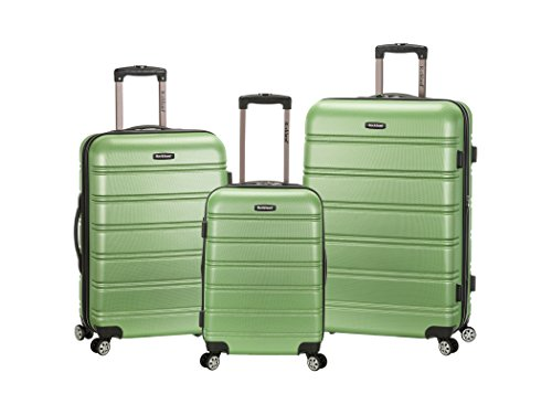 Green Luggage (Rockland Melbourne 3 Piece Abs Luggage Set, Green, One Size)