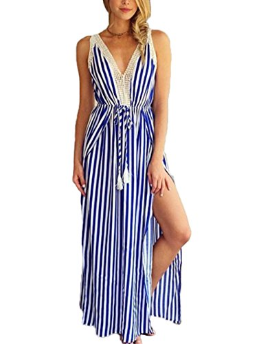 Sans Style t Bohme Bleu Rayures Maxi Manches Minetom Soire Plage Raye Robe De Robe Femme Col V Longue wpvqxt