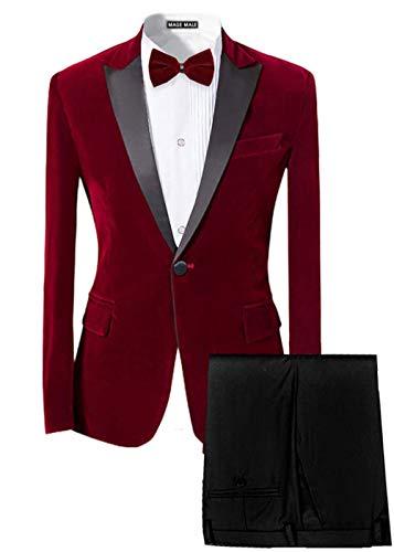 MAGE MALE Men's 2-Piece Suit Velvet Blazer Party Tuxedo Slim Fit One Button Stylish Dinner Jacket & Pants & Bow Tie