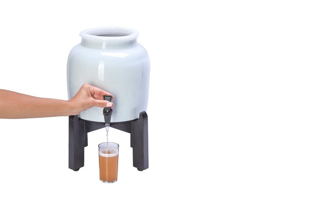 Kombucha Continuous Basic Brew Kit System - Drink Kombucha Tea On Tap (Making A Lifetime Of Home Brewed Kombucha Tea Easy For You) GetKombucha® - Includes 2.5 Gallon Porcelain Brewing Vessel w/ Handcrafted Wood Brewer Stand - Non Dehydrated HUGE Organic  by Get Kombucha (Image #2)