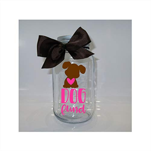Dog Fund Mason Jar Bank - Coin Slot Lid - Available in 3 Sizes