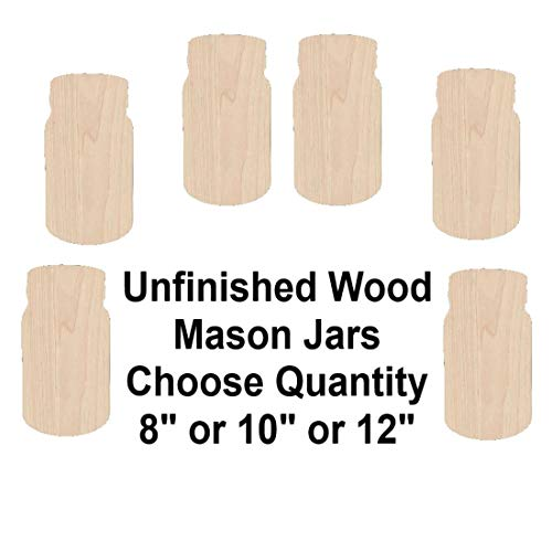 Unfinished Birch Wood Mason Jar Shapes and Design for Crafts & DIY Projects - Choose from 3 Different Styles-1/8