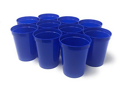 - CSBD 10 Pack Blank 16 oz Plastic Stadium Cups Bulk - Reusable or Disposable, Made In USA, Great For Customization, Monograms, Marketing, DIY Projects, Weddings, Parties, Events (10, Blue)