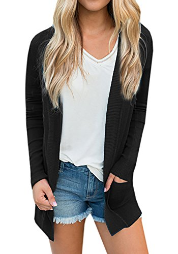 (Umeko Womens Cardigans Fall Casual Long Sweaters Open Front Lightweight Knit Cardigan with Pockets (Large, Black))
