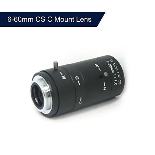 Mount Manual Iris (OWSOO Security Camera Lens 6-60mm CS C Mount Lens Manual IRIS ZOOM Varifocal F1.6 for CCTV Camera Industrial Microscope)