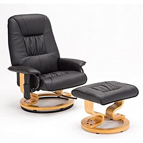 RECLINER GENIUS Real Leather Recliner Chair With Ottoman Black