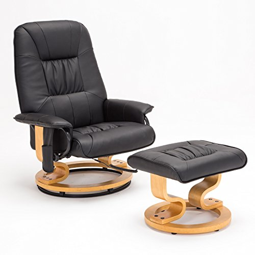 RECLINER GENIUS Real Leather Recliner Chair with Ottoman, Black - Leather Recliner Footstool