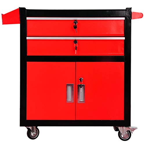 ZHAOHUI Tool Trolley Cart 3-Tier Industrial Grade Drawer Type Organizer Multifunction Workshop Toolbox, 3 Colors 630x330x760mm (Color : Red)