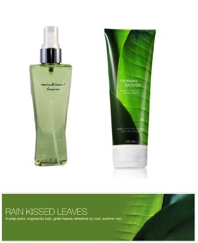 Bath & Body Works Rainkissed Leaves Body Cream & Fragrance Mist Gift Set Full Size (Leaving Before The Rain Falls)