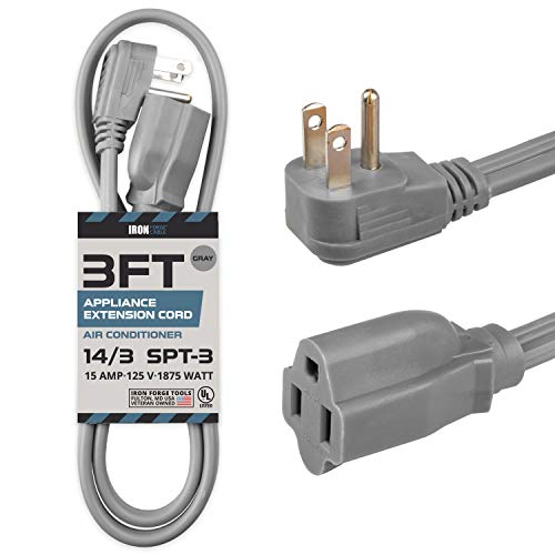 3 Ft Appliance Extension Cord Heavy Duty, Gray - 14 Gauge 3 Prong SPT-3 Cable for Air Conditioner or Refrigerator