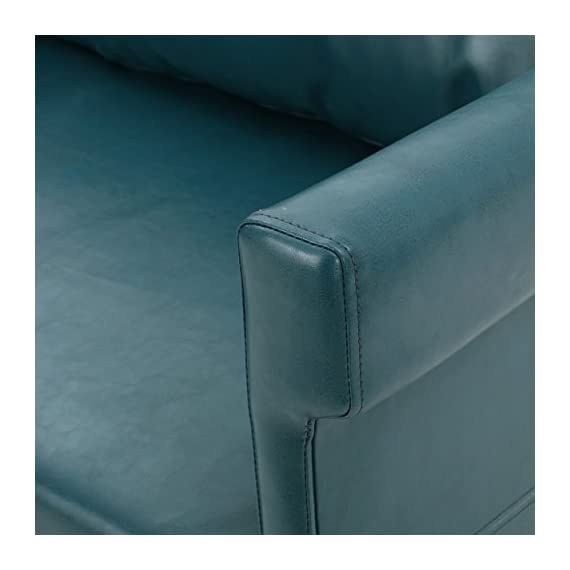 "Christopher Knight Home Bellerose Leather Settee, Teal - Includes: one (1) settee Dimensions: 26. 00""D x 54. 75""W x 27. 50""H Seat width: 49. 00"" Seat Depth: 24. 00"" Seat Height: 18. 50"" Color: Teal - sofas-couches, living-room-furniture, living-room - 41HeTd31y5L. SS570  -"