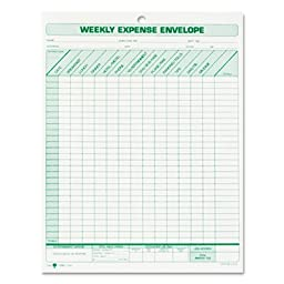 Weekly Expense Envelope, 8 1/2 x 11, 20 Forms, Sold as 1 Package, 20 Each per Package