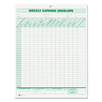 TOPS, Weekly Expense Envelope, 20 Envelopes, Top Opening, 8.5'' x 11'', Made in USA, #1242