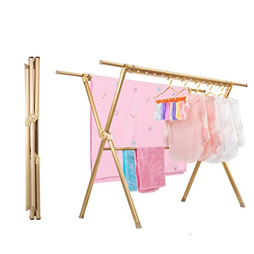 Stainless steel gold clothes rack,Floor folding indoor balco