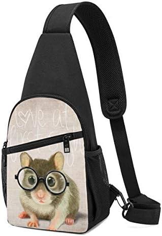 ボディバッグ ワンショルダー 斜めがけバッグ 眼鏡 ネズミ プリント ワンショルダーバッグ ボディーバッグ メンズ レディース 軽量 大容量 通勤通学旅行