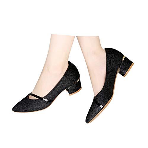 Veodhekai Women's Square Heel Casual Slip On Single Work Shoes Pointed Toe Low Heel Wedding Footwear Bling Black