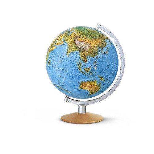 DPI 3017 Doppelbild-Leuchtglobus: DPI3017, Phys./polit. Kartografie, 30 cm Durchm.,Holzfuß buche natur, Metallmeridian silberfarben, Kabel integriert (Klassischer Globus)