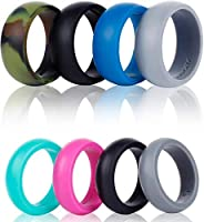 Syourself Silicone Wedding Ring Band for Men Women-4 Pack-Safe Flexible Comfortable Medical Grade Love Rings-