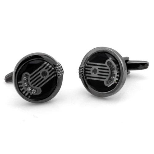Two-Tone Men's Greek Cuff Links w/ Clear Crystals w/ Personalized - Personalized Tone Cufflinks Two