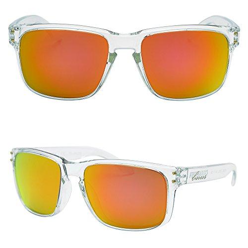 BNUS Italy made Classic Sunglasses Corning Real Glass Lens w. Polarized Option (Frame: Transparent / Lens: Orange Flash, - Sunglasses Of Made