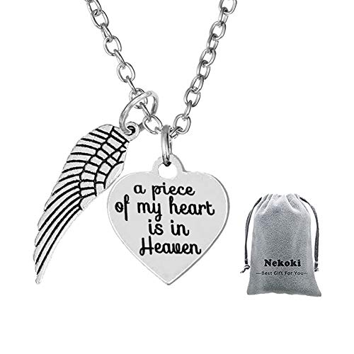 Memorial Jewelry A Piece of My Heart is in Heaven Heart Necklace-Sympathy Jewelry Gifts for Loss,in Memory of Mom Dad Grandpa Baby Loss Memorial Gift