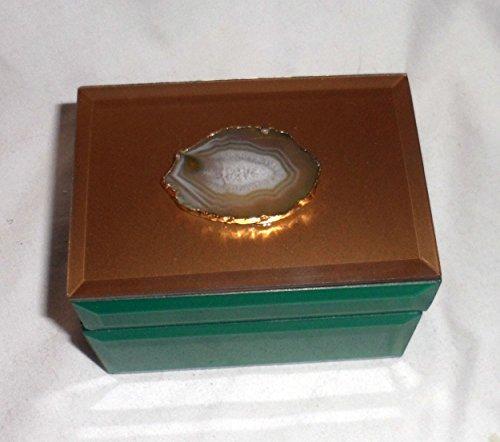 AGATE KEEPSAKE Jewelry Box Hinged Trinket Holder Beveled Glass - GREEN