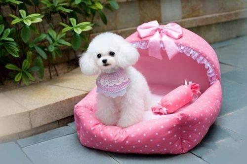 FidgetGear New Pet Dog Prince Princess Puppy Cat Dots Lace Pet Kennel House Home Bed