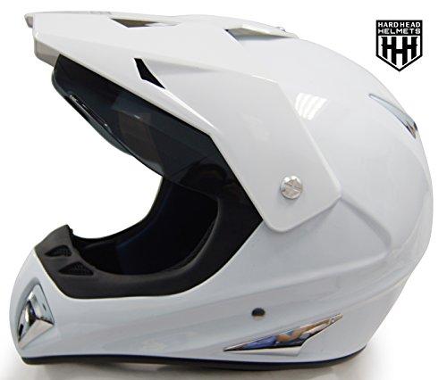 SmartDealsNow - HHH DOT ADULT Helmet for Dirtbike ATV Motocross MX Offroad Motorcyle Street bike Snowmobile HELMET with VISOR (Small, Gloss White)