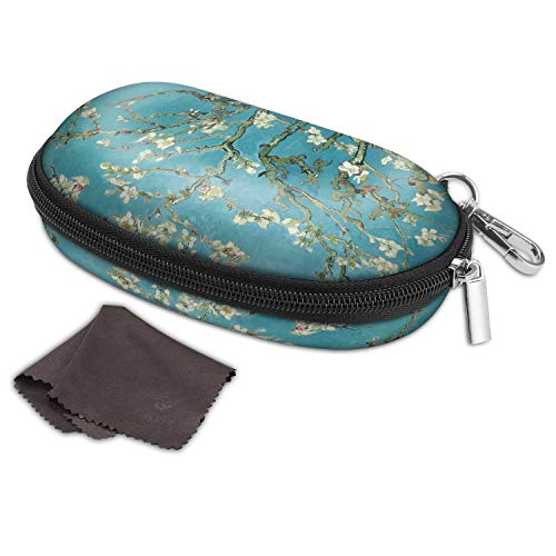 Fintie Glasses Case with Back Pack Clip, Hard EVA Shockproof Eyeglasses Box Anti-scratch Zippered Sunglasses Carrying Case (Z-Blossom) (Eva Sunglasses Case)