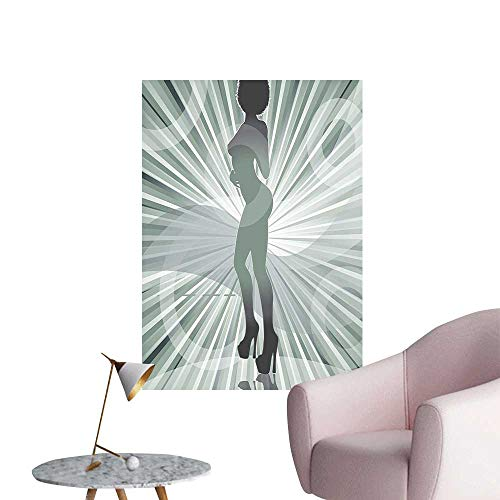 Vinyl Artwork Woman in High Heels Silhouette Ray Background Pattern Black Easy to Peel Easy to Stick,32