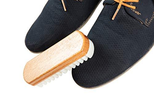 Kaps Brosse en Bois et Caoutchouc-Crêpe pour Nubuck et Daim, Brosse pour Chaussures, Sacs et Accessoires en Cuir 4