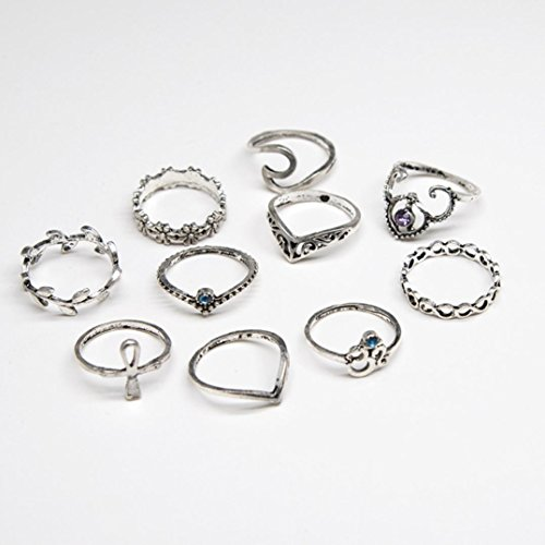 Aniywn 10pcs/Set Ladies Bohemian Retro Chic Silver Stack Rings Knuckle Rings Set (Free Size, Silver) (Chic Stack)