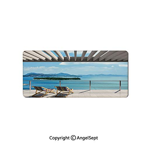 Large Gaming Mouse Pad with Durable Stitched Edges, Non-Slip Rubber Base, Mouse Mat for Office/Computer/Laptop-Beach Theme Decor,Modern Tile Roof Top House with Garden and Sea View,16