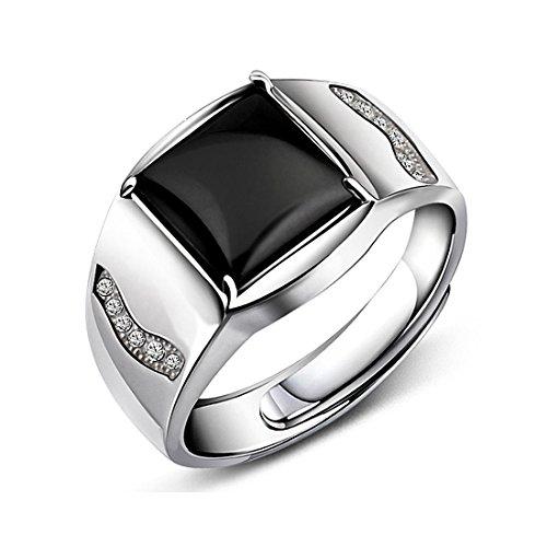 JiangXin Adjustable Size 925 Sterling Silver Black Onyx Men's Ring