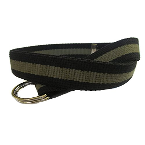 Striped Ribbon Belt (Mens Belt / Green and Black Canvas Belt / D-Ring Belt / Webbing Belt / Striped Belt in Army Green and Black - for boys teens men women Big & Tall and Plus Size)