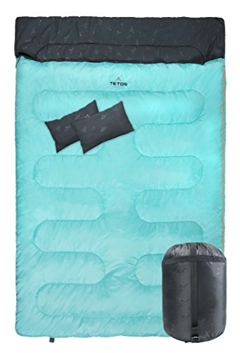 TETON Sports Cascade Double Sleeping Bag Queen Size Sleeping Bag for Backpacking, Camping, Hiking, and Travel with 2 Pillows Lightweight Mammoth Double Bag Teal Compression Sack Included