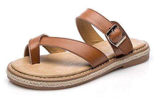 sandalias y zapatillas planas de los zapatos de los estudiantes retro salvaje verano de las mujeres Yellow